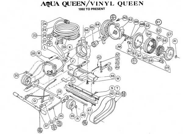 Aqua Queen  Vinyl Queen Chasis Motor  Parts Diagrams