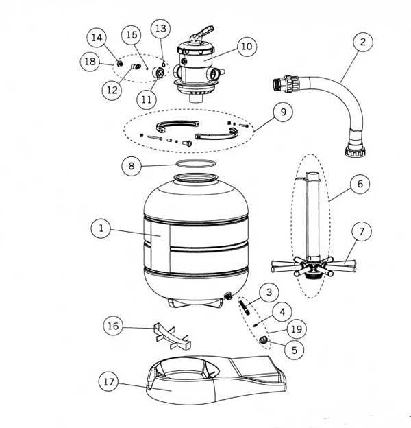 astral millenium top mount sand filter parts diagram