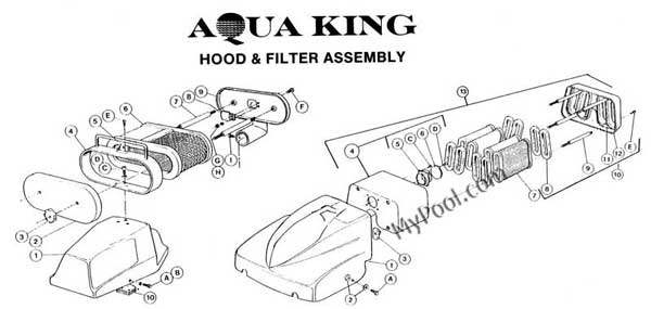 AquaVac Aqua King Hood Parts Diagram