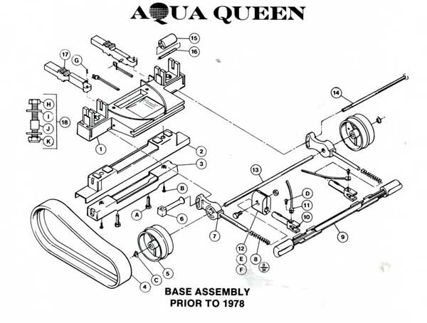 AquaVac Aqua Queen Base Parts Diagram