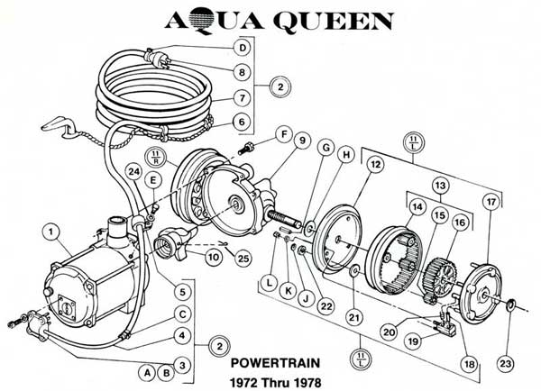 aquavac aqua queen power train parts list