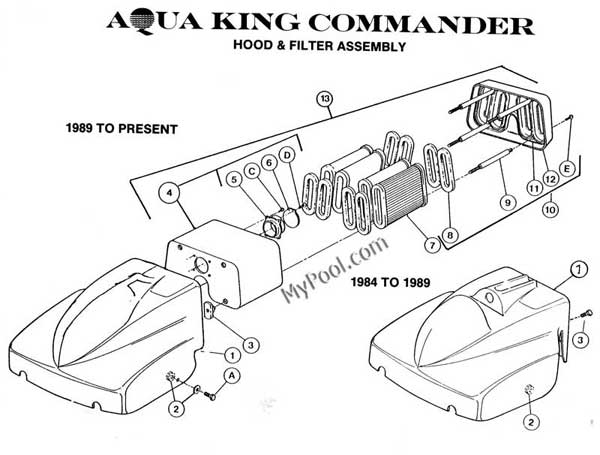 AquaVac Aqua King Commander Hood Parts Diagram