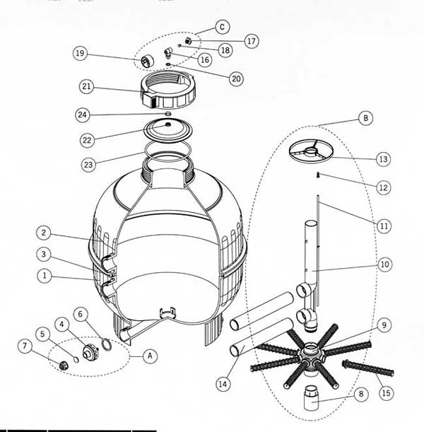 astral cantabric sand filter  top mount parts diagram