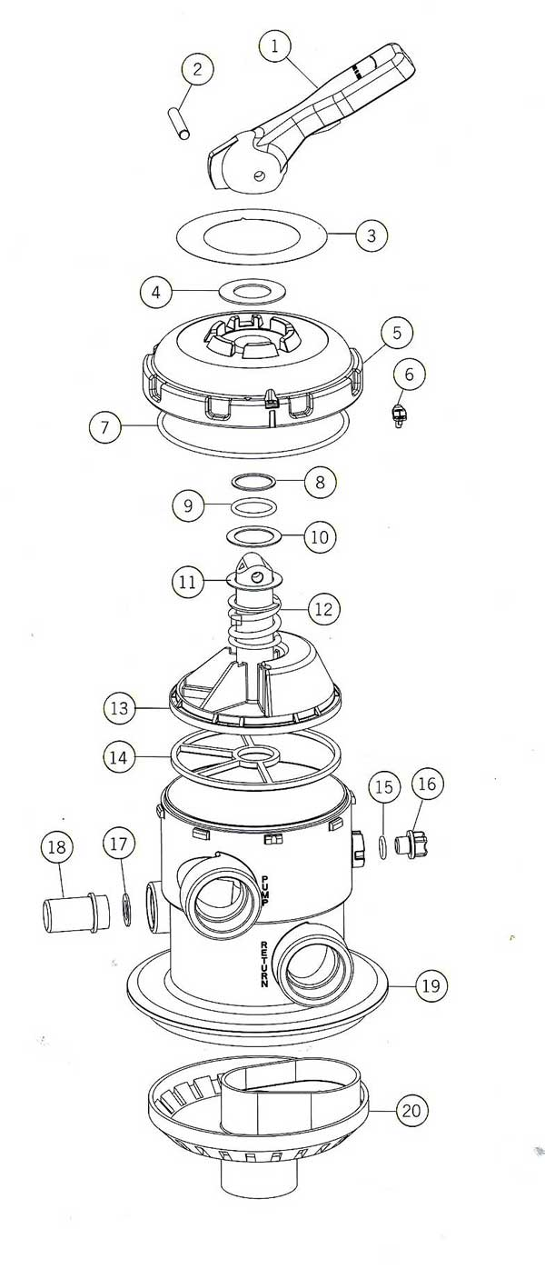 Astral Model 22358 Multiport Valve Parts Diagram
