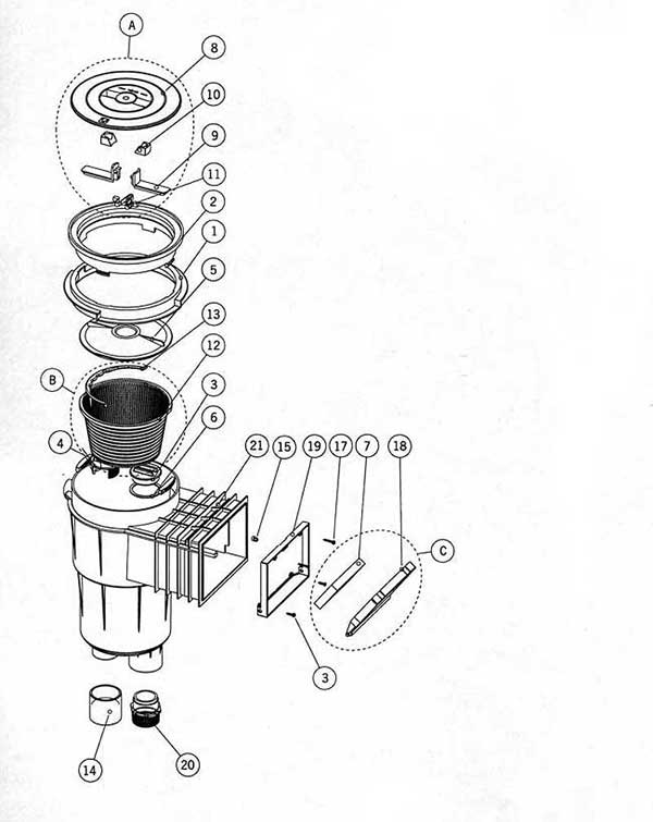 Astral Deluxe Skimmer Model 15700 Parts Diagram