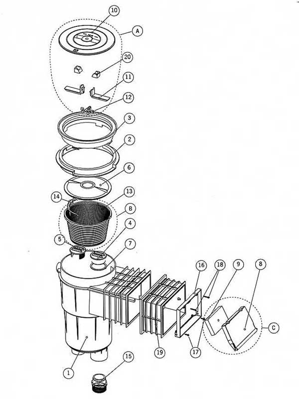 Astral Deluxe Skimmer Parts Diagram
