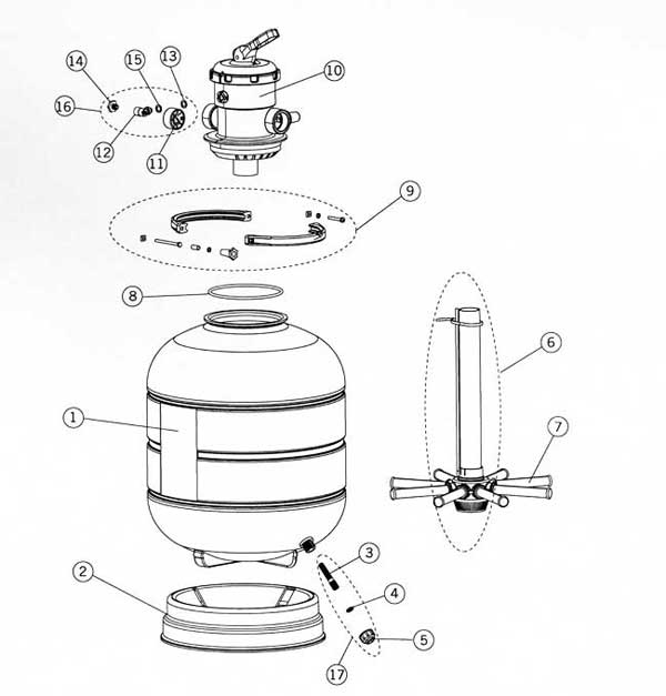 Astral Millenium Top Mount Filter Parts Diagram