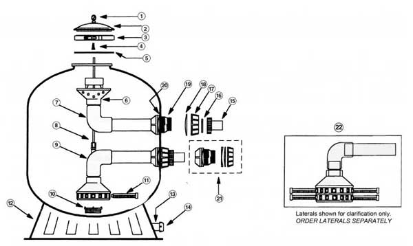 Baker Hydro HRC Sand Filter Parts Diagram