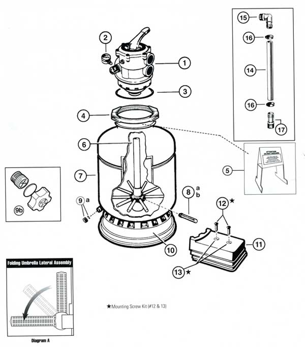 Hayward Proseries Sand Filter Model 164T Parts Diagram