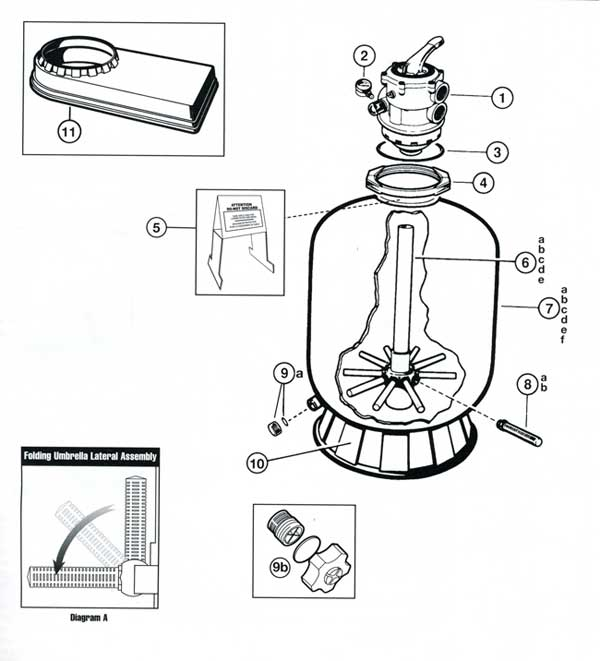 Hayward Proseries Sand Filter Model 180T Parts Diagram