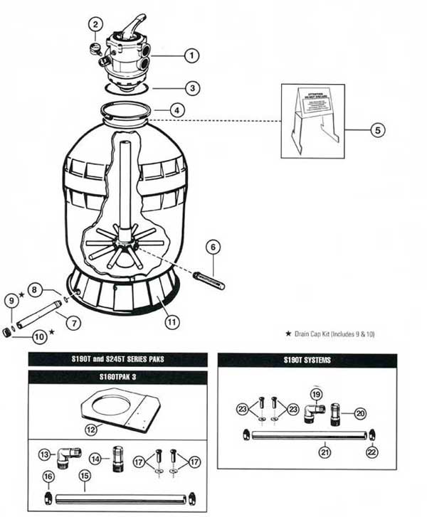 hayward s190t  s245t sand filter parts diagram