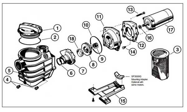 hayward super pump ii parts diagram  full rated motors