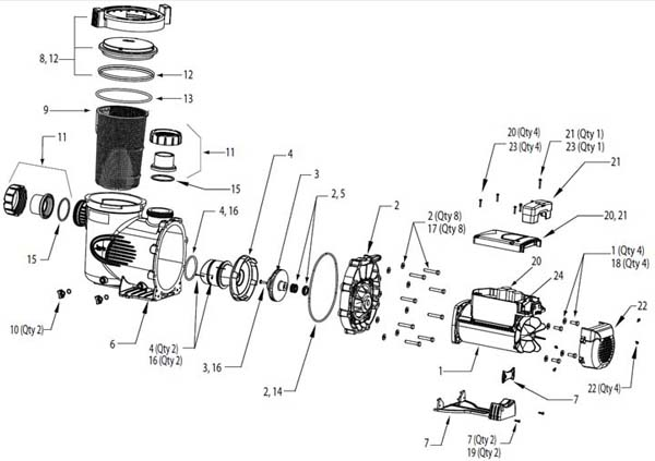 Jandy JEP Pool Pump Parts Diagram