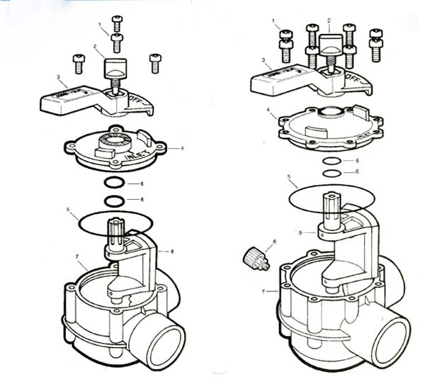 Jandy Valves, Models 4371, 4367 4369  Parts Diagram