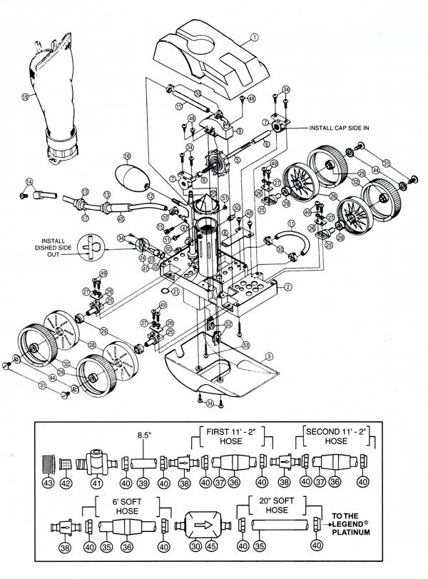 Letro Legend LL105, In Ground Pool Cleaner Parts Diagram