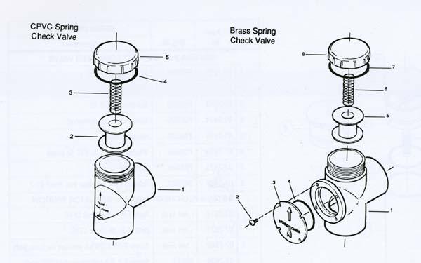 Pentair Ortega Check Valve Parts, Parts Diagram