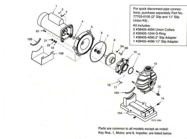 Sta-Rite Dyna-Jet TPE Series Pool Pump Parts Diagram