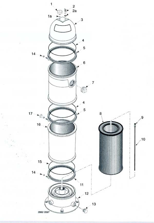 Sta-Rite PTM 135 Cartridge Filter Parts Diagram