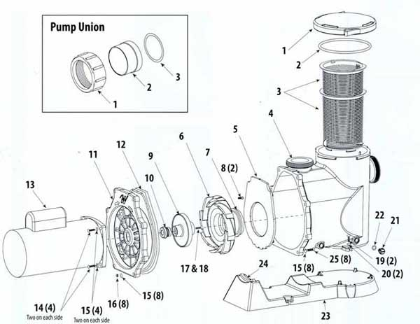 Waterway SVL56 Pool Pump Parts List