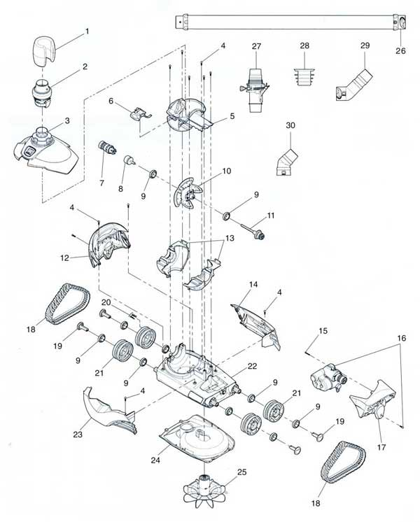 Zodiac Mx6 Pool Cleaner Parts Diagram Parts List