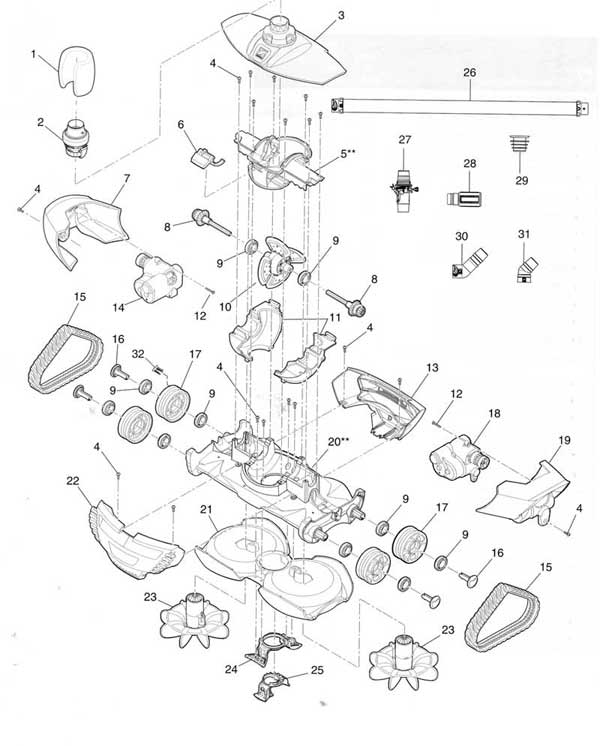 Zodiac Mx8 Pool Cleaner Parts Diagram Parts List