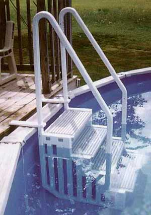 above ground pool steps we offer a complete line of in ground and above ground pool steps and ladders